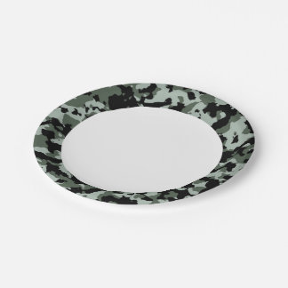 Military Green Camouflage Pattern 7 Inch Paper Plate