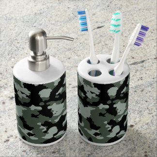 Military Green Camouflage Pattern Bathroom Set