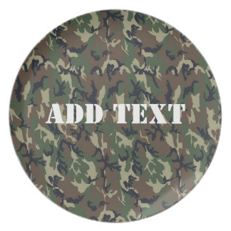 Military Green Camouflage Pattern Dinner Plates