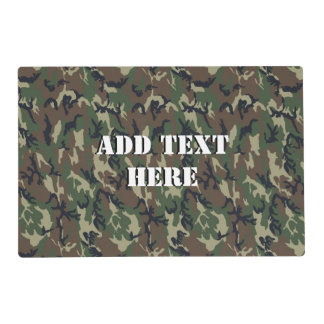 Military Green Camouflage Pattern Laminated Placemat