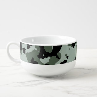 Military Green Camouflage Pattern Soup Bowl With Handle