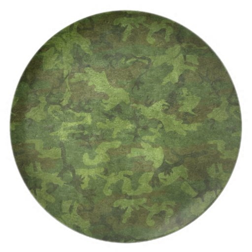 military green camouflage plate