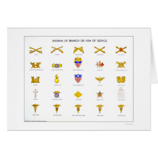 Military Insignia 1942 WPA Greeting Card