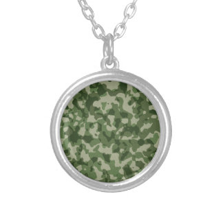 Military Jungle Green Camouflage Silver Plated Necklace