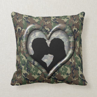 Military Kissing Couple Silhouette Camo Heart Throw Cushions