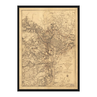 Military Map N.E. Virginia with Forts & Roads 1865 Canvas Print