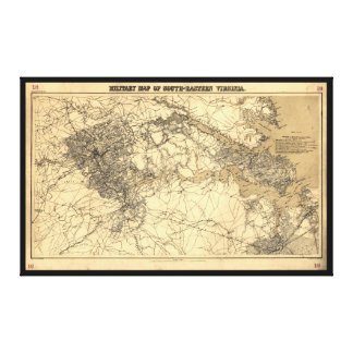 Military Map of South-Eastern Virginia (1864) Gallery Wrap Canvas