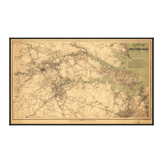 Military Map of South Eastern Virginia (1864) Gallery Wrap Canvas