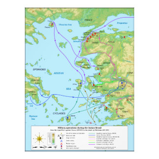 Military Map of the Ionian Revolt Campaign Photo Art
