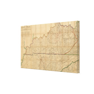Military Map of the States of Kentucky Stretched Canvas Print