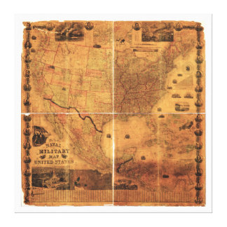 Military Map United States by J Smith (1864) Canvas Prints