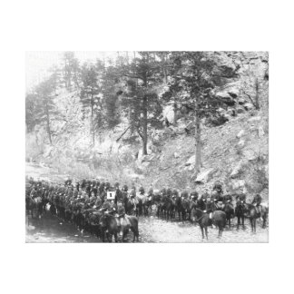 Military Men in Rows on Horseback Photograph Canvas Print