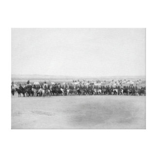 Military Men with 70 Lakota Indian Scouts Stretched Canvas Prints