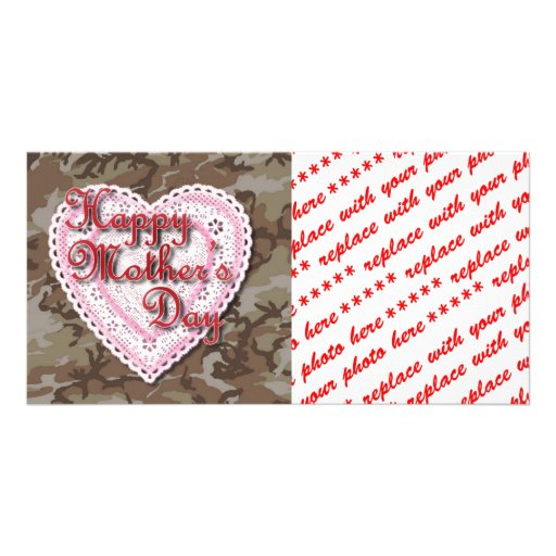 Military Mother's Day Laced Heart (Desert) Customized Photo Card