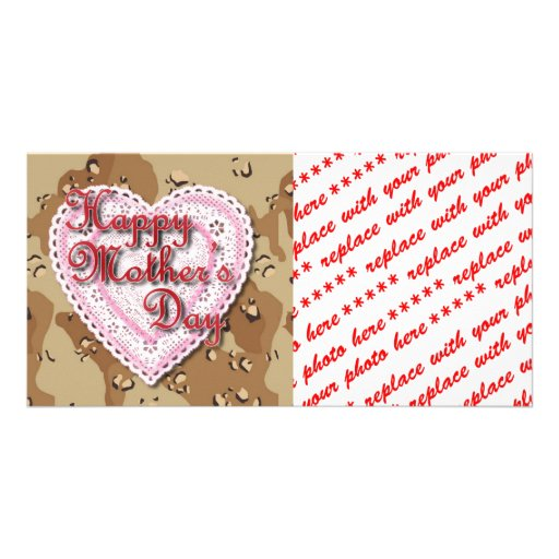 Military Mother's Day Laced Heart (Desert) Photo Card Template