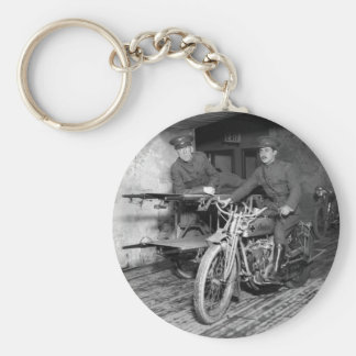 Military Motorcycle EMT, 1910s Basic Round Button Key Ring