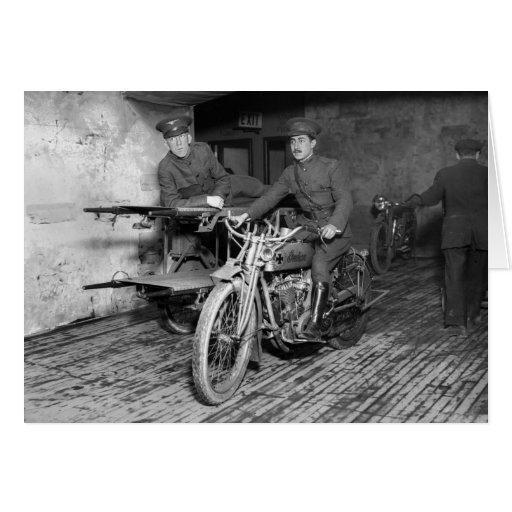 Military Motorcycle EMT, 1910s Greeting Card