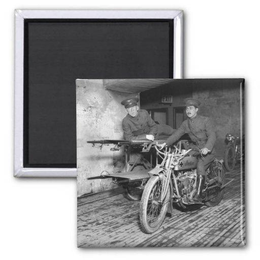 Military Motorcycle EMT, 1910s Refrigerator Magnet