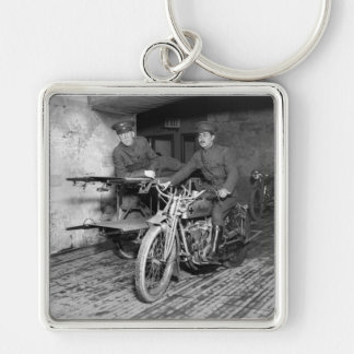 Military Motorcycle EMT, 1910s Silver-Colored Square Key Ring