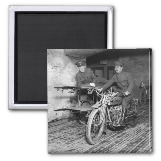Military Motorcycle EMT, 1910s Square Magnet