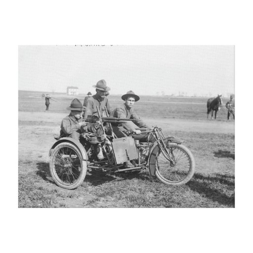 Military Motorcycle with Sidecar and Machine Gun Gallery Wrap Canvas