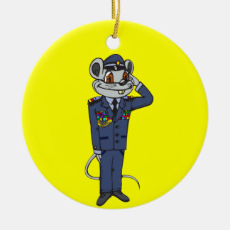 Military Mouse Round Ceramic Decoration