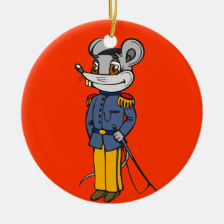 Military Mouse Solider Round Ceramic Decoration