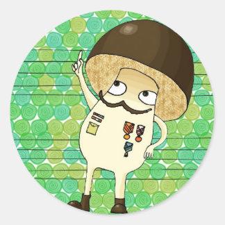 Military mushroom round sticker
