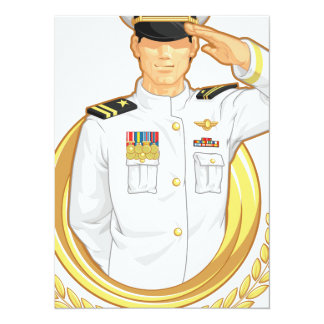 Military Officer in Salute Gesture 14 Cm X 19 Cm Invitation Card
