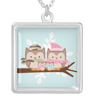 Military Owl Family Silver Plated Necklace
