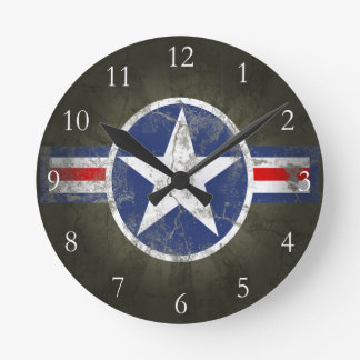 Military Patriotic Vintage Star Round Clock