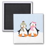 Military Penguin Couple Fridge Magnet
