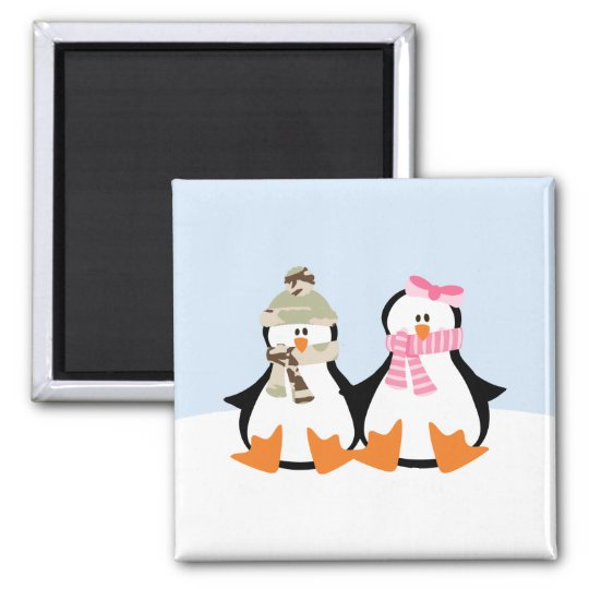 Military Penguin Couple Magnet