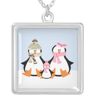 Military Penguin Family Square Pendant Necklace