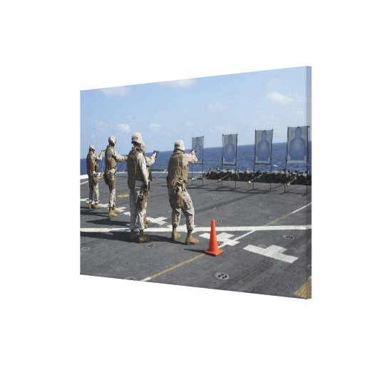 Military policemen train with the Berretta M9 Stretched Canvas Prints