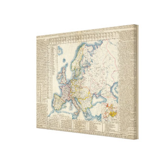 Military Political Map of Europe Canvas Print