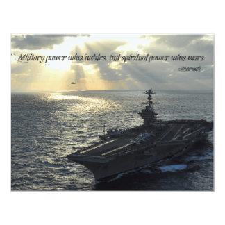 Military power wins battles, but spiritual power 11 cm x 14 cm invitation card