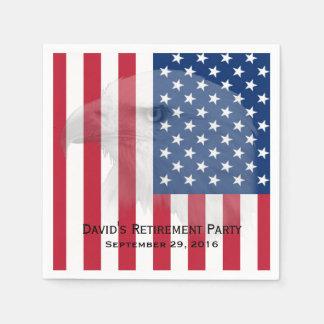 Military Retirement Bald Eagle & American Flag Disposable Serviette