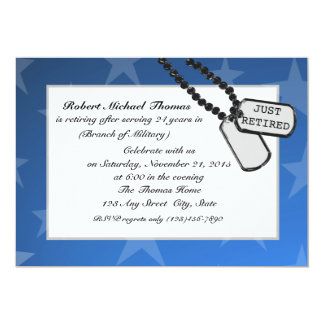 Military Retirement Party Blue 13 Cm X 18 Cm Invitation Card