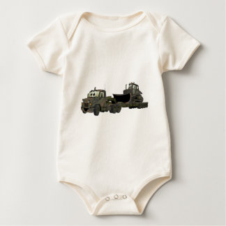 Military Semi Bulldozer Flatbed Cartoon Baby Bodysuit