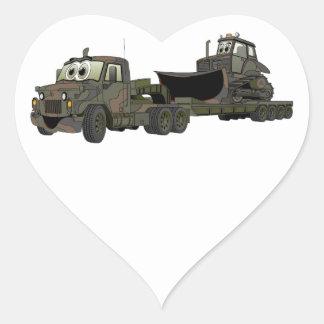 Military Semi Bulldozer Flatbed Cartoon Sticker