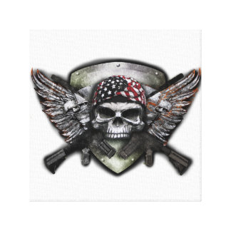 Military Skull With Crossed Gun Special Warfare Gallery Wrapped Canvas