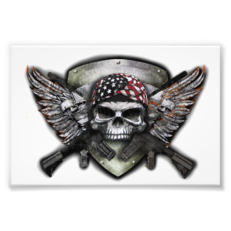 Military Skull With Crossed Gun Special Warfare Photo