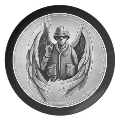 Military Soldier Angel Design Party Plates