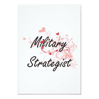 Military Strategist Artistic Job Design with Heart 9 Cm X 13 Cm Invitation Card
