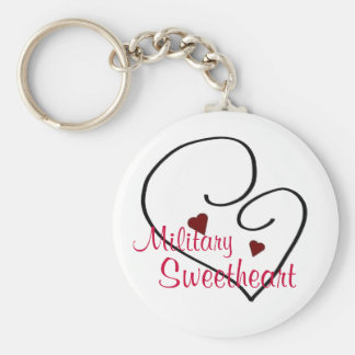 Military Sweetheart Basic Round Button Key Ring
