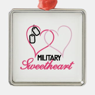 Military Sweetheart Silver-Colored Square Decoration