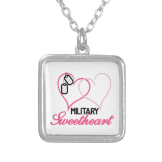 Military Sweetheart Square Pendant Necklace