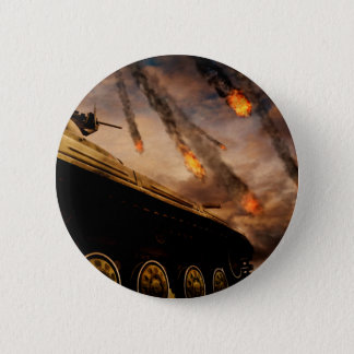 Military Tank on Battlefield 6 Cm Round Badge
