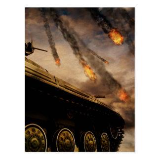 Military Tank on Battlefield Postcard
